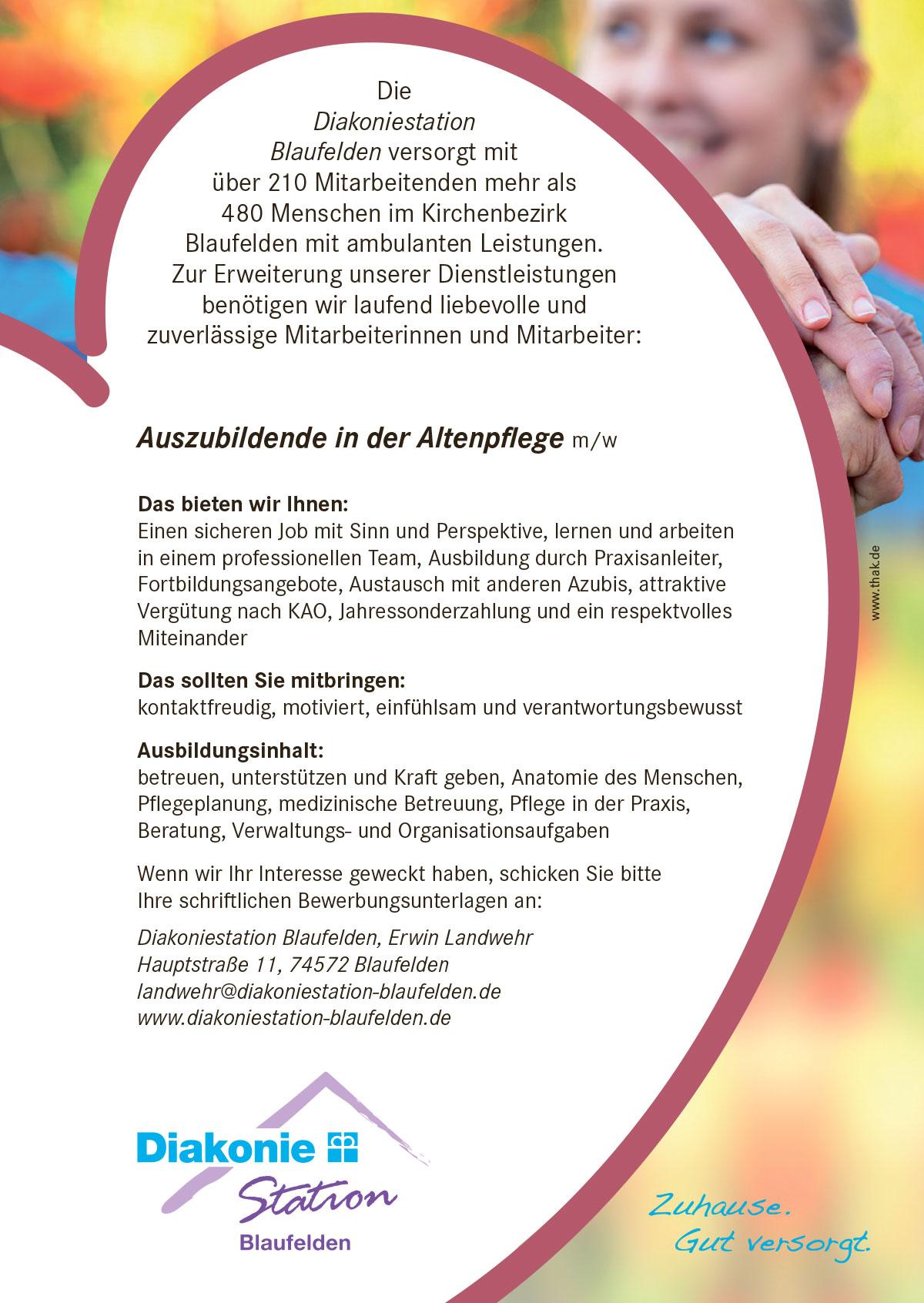 Diakoniestation sucht Azubis – ebbes aus Hohenlohe
